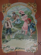 Chromo Découpis Gaufré Brillant Ancien Très Grand Format 43cm X 31cm ,partie De Pêche, Enfants, Nénuphars - Enfants