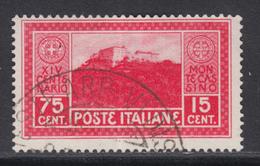 ITALIA REGNO 1929 Montecassino - Sassone 265 - Cat 65 Euro  Usato LUXUS GESTEMPELT - Oblitérés