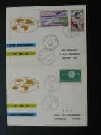Lettre Premier Vol First Flight Cover Tour Du Monde Air France TAI Polynésie 1961 - Briefe U. Dokumente