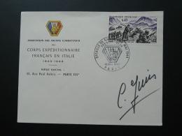 FDC Corps Expéditionnaire Français En Italie Bataille Du Garigliano Signée Par Un Vétéran 1969 - WW2