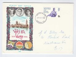 1968 London GB FDC VOTES FOR WOMEN Stamps Cover Parliament - FDC