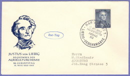 GER SC #695  1953 Justus Von Liebig, FDC 05-12-1953 - Covers