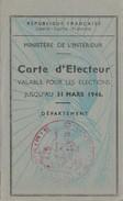 CARTE D ELECTEUR 1946 MAIRIE D HYERES VAR - TDA57 - Cartes