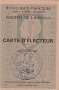 CARTE D ELECTEUR 1951 MAIRIE D HYERES VAR - TDA57 - Cartes
