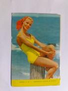1964 POCKET CALENDAR SPAIN GIRL IN THE YELLOW BATHROOM ON THE BEACH. SEA.  470a - Calendriers