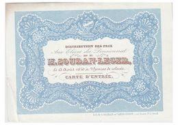 CARTE PORCELAINE -- PORSELEINKAART -- GENT--1840--PENSIONNAT DE M.SOUDAN-LEGER -- DISTRIBUTION DES PRIX -- - Gent