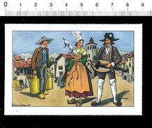 Image Bon-point Folklore Province Auvergne Musique Vielle Anciens Pots De Lait Coiffe Costumes   IM175/16 - Non Classificati