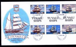 A4915) Tuvalu FDC Ships Schiffe 13.5.81 Gutter Pairs - Tuvalu (fr. Elliceinseln)