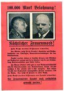 WWII WW2 Propaganda Tract Leaflet Flugblatt, 100.000 Mark Belohnung!, 21 X 14,5 Cm, FREE SHIPPING WORLDWIDE - Alte Papiere