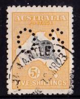 Australia 1915 Kangaroo 5/- Grey & Yellow 2nd Watermark Perf OS Used - - 1913-48 Kangaroos
