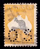 Australia 1918 Kangaroo 5/- Grey & Yellow 3rd Watermark OS Used - Listed Variety - 1913-48 Kangaroos