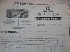 Facture Illustrée  Allemagne Omega Stahlwaren Fabrik Solingen Montres Oméga 1916 - Deutschland