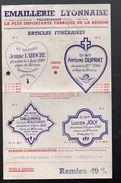 Villeurbanne (69 Rhône ) Lot De  2 Documents EMAILLERIE LYONNAISE (articles Funéraires) (PPP5999) - Advertising