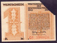 WHW (Winterhilfswerk), 1 Mark Wertschein, Winterhilfswerk 1943 / 44 Aus Baden-Baden - Allemagne