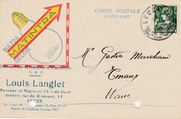 Leuze ,carte Publicitaire , Louis Langlet ;électricité Générale,ampoule Mazda Matintra - Leuze-en-Hainaut