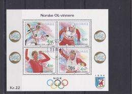 Norway 1994 Lillehammer Norwegian Gold Medal Winners Souvenir Sheet - Used  (H25) - Winter 1994: Lillehammer