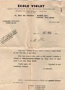 VP10.806 - Document Commercial - Ecole VIOLET - Ecole D'Electricité & De Mécanique Industrielles à PARIS Rue Du Théatre - Electricity & Gas