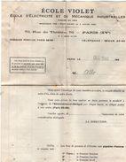 VP10.807 - Document Commercial - Ecole VIOLET - Ecole D'Electricité & De Mécanique Industrielles à PARIS Rue Du Théatre - Electricity & Gas