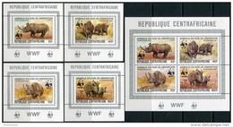 Centrafricaine 1983. Michel #985/88 Klb+4 Bl.-A MNH/Luxe. WWF. Black Rhinoceros (TS30) - Centraal-Afrikaanse Republiek
