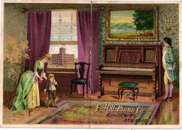 2 Trade Cards Chromos Fabrique Piano Pub. Estey Piano New York  Anno 1890  Litho - Autres