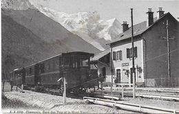 CHAMONIX-MONT-BLANC 74 HAUTE-SAVOIE J.J. 6050 CHAMONIX GARE DES PRAZ ET LE MONT-BLANC TP SUISSE - Chamonix-Mont-Blanc