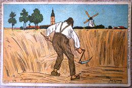RARE Litho PRECURSEUR Illustrateur A. LYNEN COLLECTION DE-CI DE-LA N° 75 HOMME SABOTS FAUCILLE CHAMP BLE MOULIN EGLISE - Lynen, Amédée-Ernest