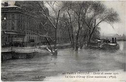 PARIS 75 SEINE INONDATIONS DE 1910 20 PARIS INONDE CLICHE 28/01/1910 LA GARE D'ORSAY - Inondations De 1910