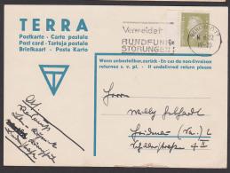 Werbeeindruck TERRA 8 Pf. Ebert Randstück Auf Karte Aus Berlin O17, MWSt. Vermeidet Rundfunkstörungen - Alemania