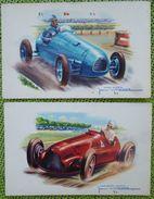 Lot 2x Litho Illustrateur JEAN MASSA VOITURE DE COURSES AUTOMOBILE SIMCA GORDINI  ET ALFA ROMEO ALFETTE - Sport Automobile