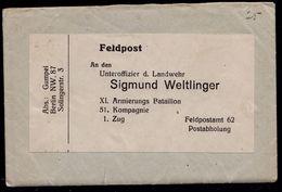 """FELDPOST Von 1915 An """" SIGMUND WELTLINGER """" - Probably The BERLIN JEW DEPORTED IN 1938 TO SACHSENHAUSEN ORANIENBURG ? - Documents Historiques"""