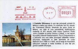 Italia 2017 MILANOFIL Esposizione Filatelica Castello Sfozesco Cartolina Con Annullo Affrancatura Meccanica Rossa - Philatelic Exhibitions