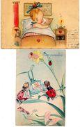 LOTTO 2 CARTOLINAE-BAMBINI- ANNI 1940-VIAGGIATE - Disegni Infantili