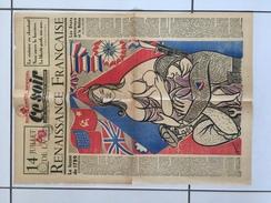 1ère Page Du Journal Le Soir Du 14 Juillet 1945 Militaria 2 Eme Guerre Mondiale Propagande Timbre Journaux Libération - Documents Historiques