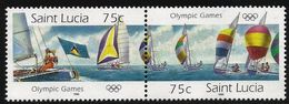1996 St. Lucia Olympics Olympiques Sailing Complete Set Of 2 Pairs MNH - St.Lucia (1979-...)
