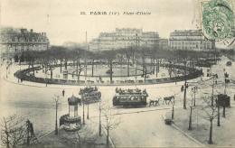 75 PARIS PLACE D'ITALIE ANIMEE - TRAMWAY - Places, Squares