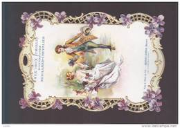 Superbe Chromo Gaufrage - Rouillard-Chevalier , Chateau Gontier Mayenne - Couple - Premiers  Lilas - Kaufmanns- Und Zigarettenbilder
