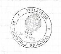 Cachet Philatélique Grand Format Thionville Principal Armoiries Blason Château Schloss Castle - Enveloppes