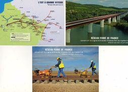 CPM - LOT DE 3 CARTES RESEAU FERRE DE FRANCE - Le Viaduc De Moselle, Temps De Parcours,Clipsage Des Rails SOUILLY( Meuse - Ouvrages D'Art