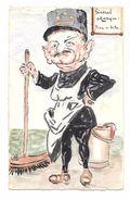 CPA Illustrée Peinte à La Main WWI  Général Mangin Vite Et Bien - Humoristiques