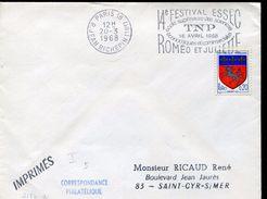25410 France, Special Postmark Slogan Paris,1968, Festival Of Romeo And Juliet Of Shakespeare, Romeo Juliette - Celebridades
