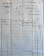 Facture De F. MARQUIS - Chocolats & Thés à Mr AURIOL à Montpellier - Datée 28.12.1885 - BE - France