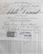 Facture De ACHILLE DURAND - A La Corbeille De Mariage à Montpellier à Mme AURIOL -Timbrée Datée 06.10.1890 Signée - BE - France