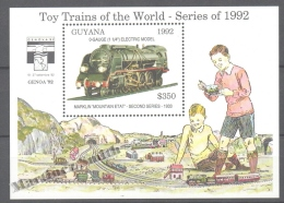 Guyana 1992 Yvert BF 120, Reduced Train Models - Miniature Sheet - MNH - Guyana (1966-...)