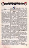 WWII WW2 Tract Leaflet F.109 Revue De La Presse Libre Supplément Du Courrier De L'Air No.28  FREE SHIPPING WORLDWIDE - Old Paper