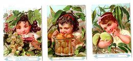 Lot 3 Chromos Imp. Appel, Petit St Thomas, Exposition 1878, Enfants Avec Fruits - Kaufmanns- Und Zigarettenbilder
