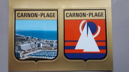 CPSM CARNON PLAGE HERAULT ARMOIRIES BLASON ADHESIF AUTOCOLLANT VUE PLAGE ED DE FRANCE - Fantasia