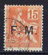 """FR Franchise YT 1 """" Mouchon 15c. Orange Surch."""" 1901-04 Oblitéré - Franchise Militaire (timbres)"""