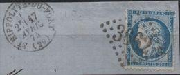 Yvert 60 Sur Fragment De Lettre Avec Affranchissement Gros Chiffre 3662 SAINT HIPPOLYTE DU FORT (Gard) (99584) - 1870 Besetzung Von Paris