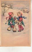 Deux Enfants Dans La Neige  Par Luce André - Andere Illustrators