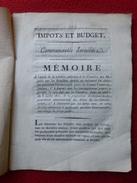 COMTAT VENAISSIN JUDAICA MEMOIRE IMPOTS ET BUDGET COMMUNAUTES ISRAELITES AVIGNON 1820 DE COTTON - Historische Dokumente